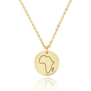 Africa Map Engraving Disc Necklace - Beleco Jewelry