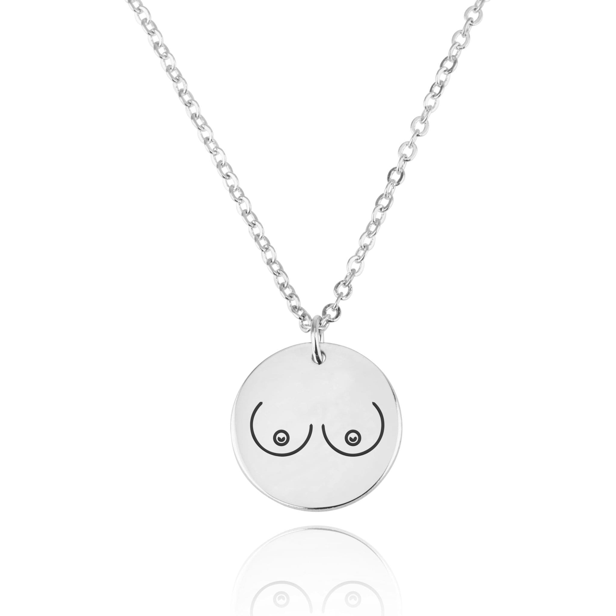 Breasts Engraving Disc Necklace - Beleco Jewelry
