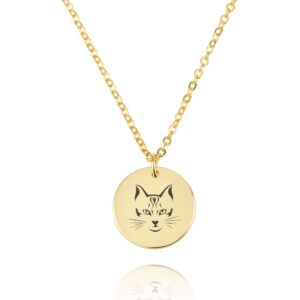 Cat Engraving Disc Necklace - Beleco Jewelry