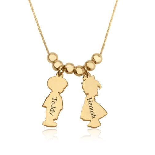 Children Charms Necklace with Name Engraved - Beleco Jewelry