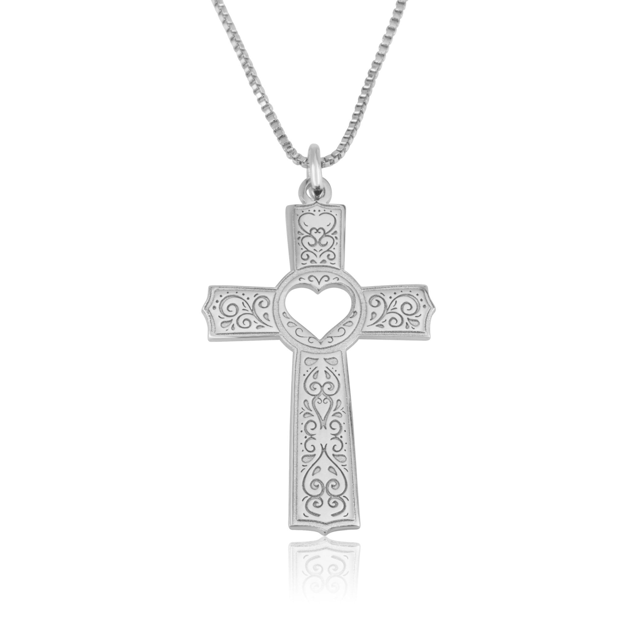 Cross With Heart Cutout Necklace - Beleco Jewelry