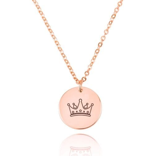 Crown Engraving Disc Necklace - Beleco Jewelry