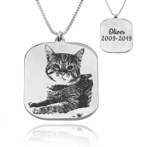 Custom Cat Portrait Necklace - Beleco Jewelry