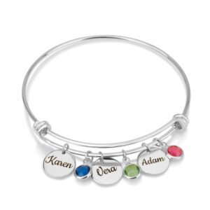 Custom Charm Bracelet with Names and Birthstones - Beleco Jewelry