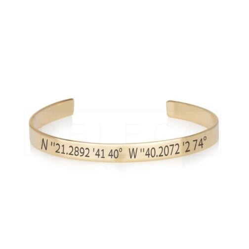 Custom Coordinates Cuff Bracelet GPS Latitude - Beleco Jewelry