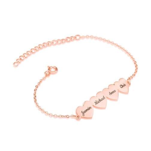 Custom Four Hearts Name Bracelet - Beleco Jewelry