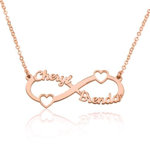 Custom Infinity Necklace With Two Names And Two Hearts - Beleco Jewelry
