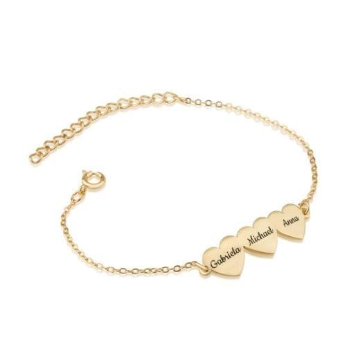 Custom Three Hearts Name Bracelet - Beleco Jewelry