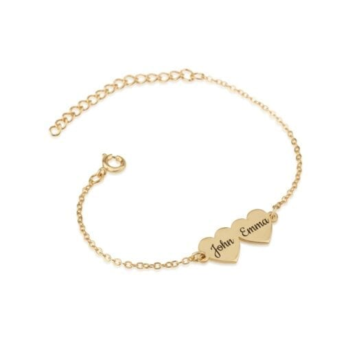 Custom Two Hearts Name Bracelet - Beleco Jewelry