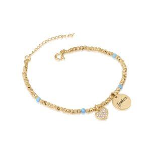 Customize Laser Beads Bracelet With Opal Stones - Beleco Jewelry