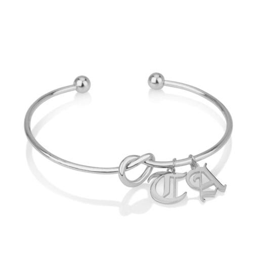 Customize Old English Font Initial Charm Bangle - Beleco Jewelry