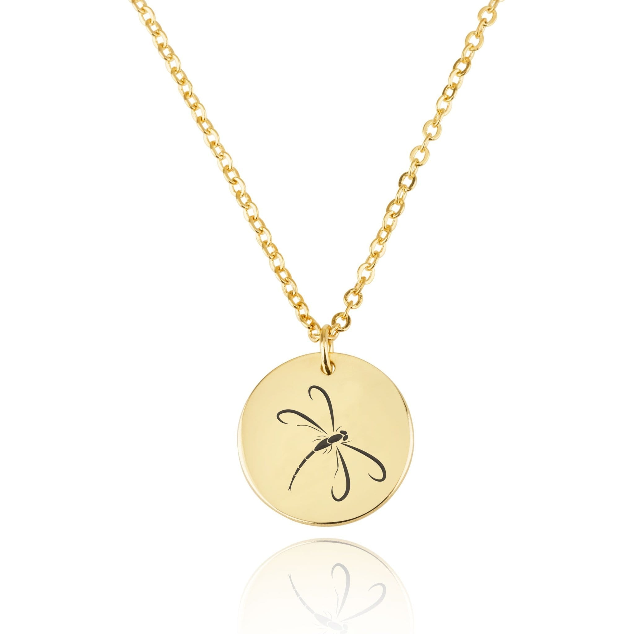 Dragonfly Engraving Disc Necklace - Beleco Jewelry