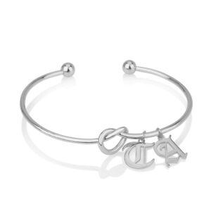 Gothic Initial Charm Bracelets - Beleco Jewelry