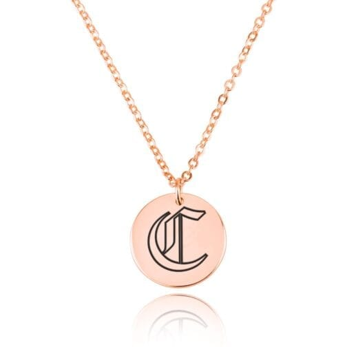 Gothic Initial Disc Necklace - Beleco Jewelry