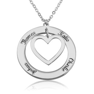 Heart Within Circle Necklace With Engraved Name - Beleco Jewelry