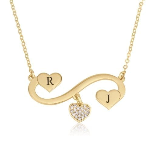 Infinity Initial Necklace with Dangle Zirkon Heart - Beleco Jewelry