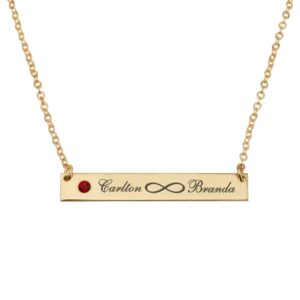 Infinity Names Bar Necklace With Birthstone - Beleco Jewelry