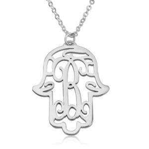 Initial Hamsa Monogram Necklace - Beleco Jewelry