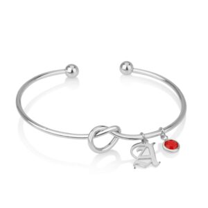 Old English Initial Charm Bangle With Birthstone - Beleco Jewelry