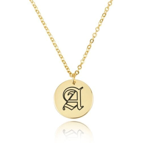 Old English Initial Disc Necklace - Beleco Jewelry