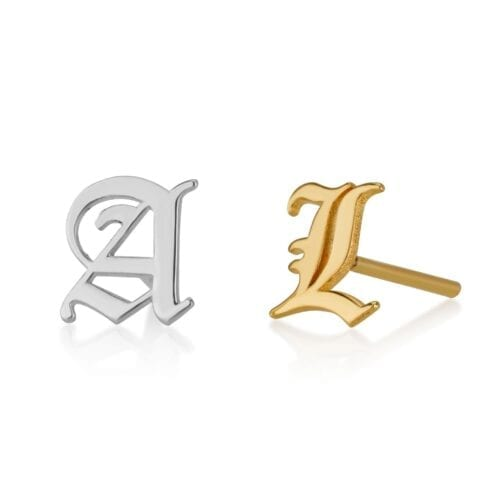 Old English Initial Stud Earrings - Beleco Jewelry