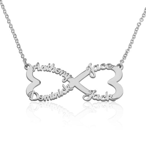 Personalized Infinity Necklace With Four Names - Beleco Jewelry