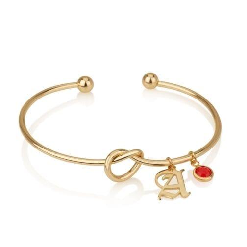 Personalized Initial Bracelet With Birthstone - Beleco Jewelry