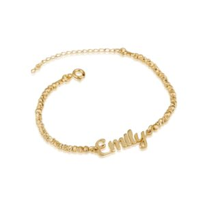 Personalized Nameplate Bracelet With Laser Beads - Beleco Jewelry