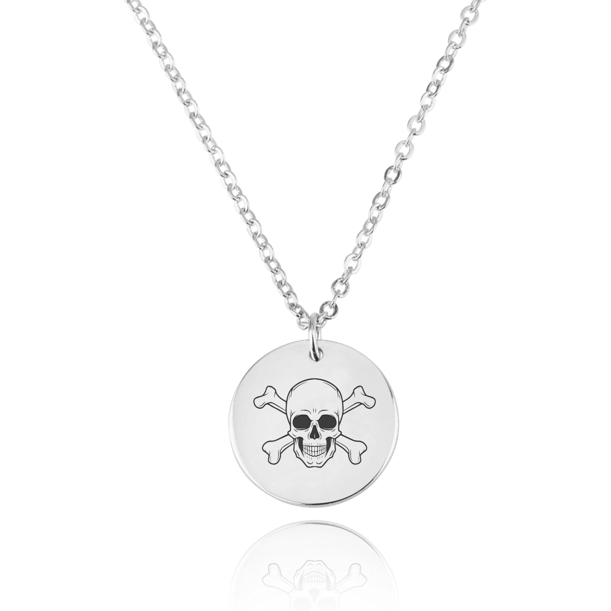 Skull Engraving Disc Necklace - Beleco Jewelry