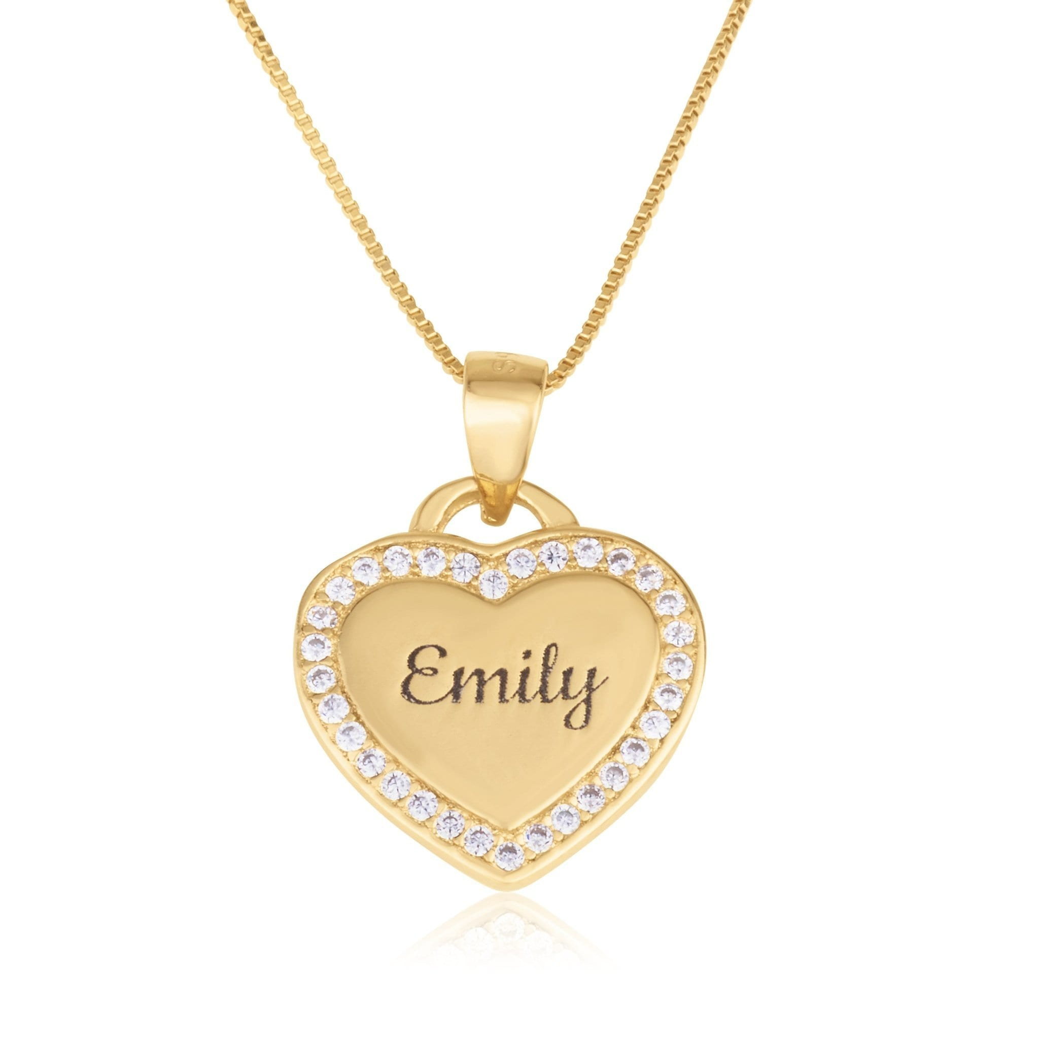 Zirkon Heart Pendant With Engraved Name - Beleco Jewelry