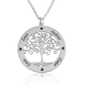 תליון עץ החיים עם חריטת שמות ולבבות